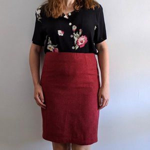 Vintage Designer Willi Smith Cranberry Wool Skirt